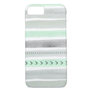 Trendy Mint Green Watercolor Stripes Design iPhone 7 Case