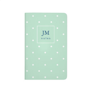 Trendy Mint Green with White Polka Dots Journal