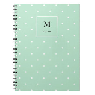 Trendy Mint Green with White Polka Dots Notebooks