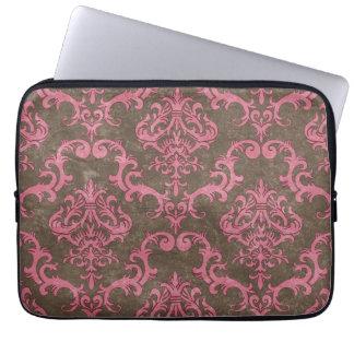 Trendy & Mod Brown Pink Damask Laptop Sleeve