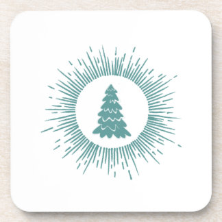 Trendy modern abstract Christmas tree Beverage Coaster