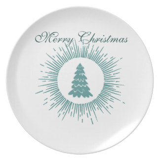 Trendy modern abstract Christmas tree Party Plate