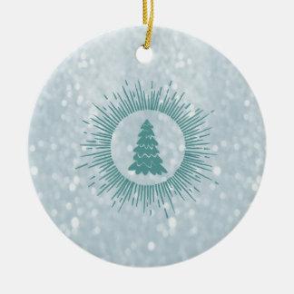 Trendy modern abstract Christmas tree Round Ceramic Decoration