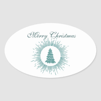 Trendy modern abstract Christmas tree Oval Sticker