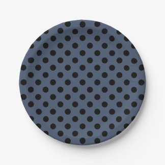 Trendy Modern Black Polka Dots on Blue Jeans Blue 7 Inch Paper Plate