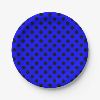 Trendy Modern Black Polka Dots on Blue 7 Inch Paper Plate