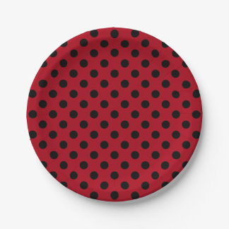 Trendy Modern Black Polka Dots on Dark Red 7 Inch Paper Plate