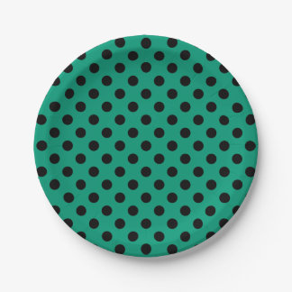 Trendy Modern Black Polka Dots on Emerald Green 7 Inch Paper Plate