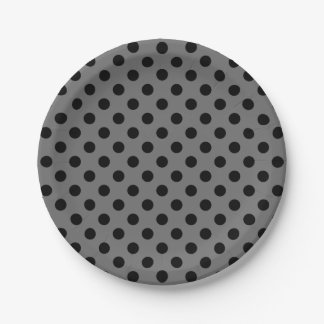 Trendy Modern Black Polka Dots on Gray 7 Inch Paper Plate