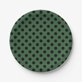 Trendy Modern Black Polka Dots on Hunter Green 7 Inch Paper Plate