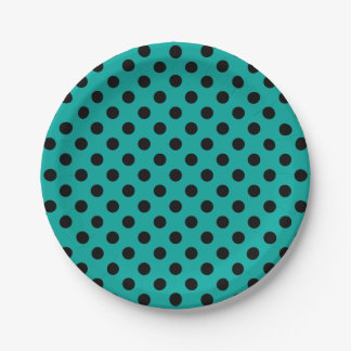 Trendy Modern Black Polka Dots on Manganese Blue 7 Inch Paper Plate