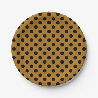 Trendy Modern Black Polka Dots on Matte Gold 7 Inch Paper Plate