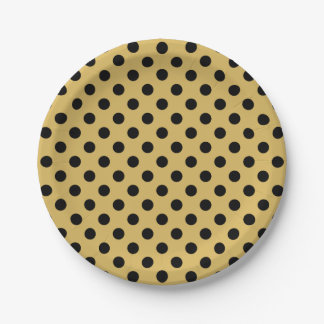 Trendy Modern Black Polka Dots on Misted Yellow 7 Inch Paper Plate