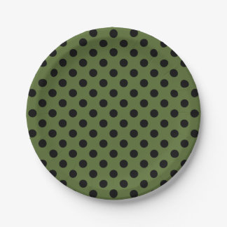 Trendy Modern Black Polka Dots on Olive Green 7 Inch Paper Plate