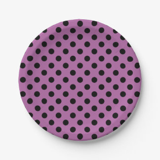 Trendy Modern Black Polka Dots on Radiant Orchid 7 Inch Paper Plate