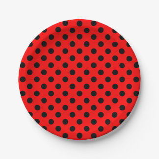 Trendy Modern Black Polka Dots on Red 7 Inch Paper Plate