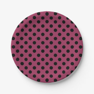 Trendy Modern Black Polka Dots on Sangria Pink 7 Inch Paper Plate