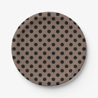 Trendy Modern Black Polka Dots on Taupe Brown 7 Inch Paper Plate