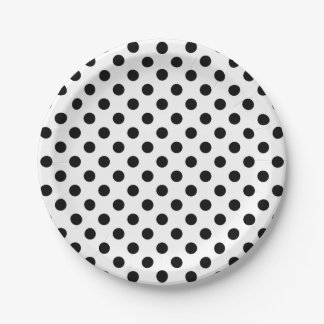 Trendy Modern Black Polka Dots on White 7 Inch Paper Plate