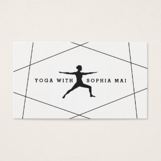 Trendy Modern Black & White Blue Yoga Instructor Business Card