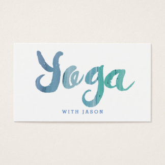 Trendy Modern Blue Yoga Instructor Business Card