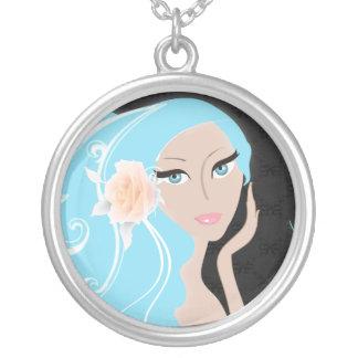 trendy modern bride fashionista bridal shower round pendant necklace