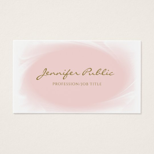 Trendy Modern Calligraphic Blush Pink Gold Plain Business Card
