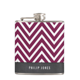 TRENDY modern chevron pattern gray maroon plum Hip Flask