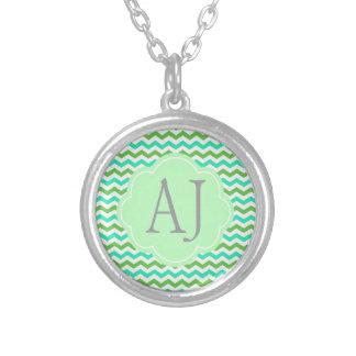 Trendy, modern fresh  green chevron zigzag necklace
