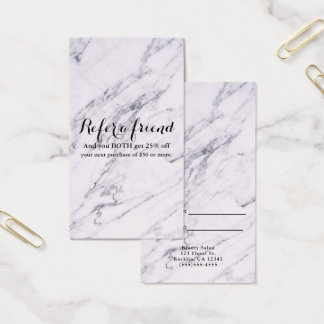 Trendy Modern Marble Elegant Glam Refer a Friend Business Card
