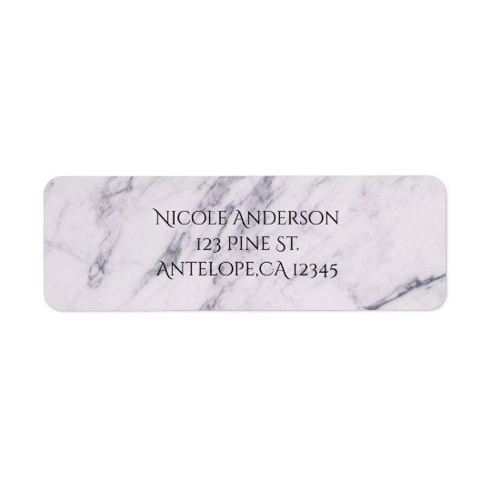 Trendy Modern Marble Elegant Wedding Invitation Return Address Label