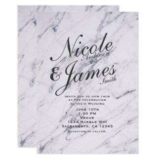 Trendy Modern Marble Elegant Wedding Invitations