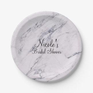 Trendy Modern Marble Elegant Wedding Party Paper Plate