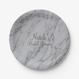 Trendy Modern Marble Silver Glam Wedding Party Paper Plate