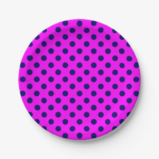 Trendy Modern Navy Blue Polka Dots on Pink 7 Inch Paper Plate