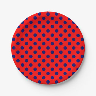 Trendy Modern Navy Blue Polka Dots on Red 7 Inch Paper Plate