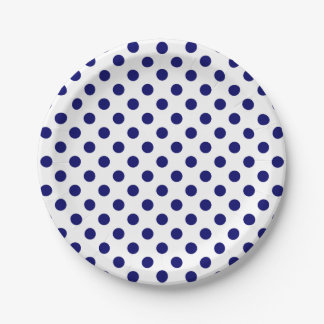 Trendy Modern Navy Blue Polka Dots on White 7 Inch Paper Plate