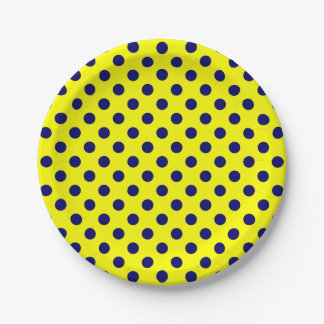 Trendy Modern Navy Blue Polka Dots on Yellow 7 Inch Paper Plate
