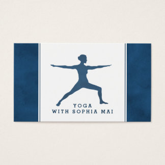 Trendy Modern Navy Blue Yoga Instructor Business Card
