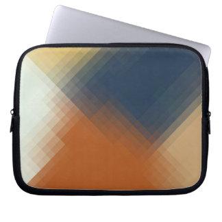Trendy Modern Orange Blue Yellow Beige Pattern Laptop Sleeve