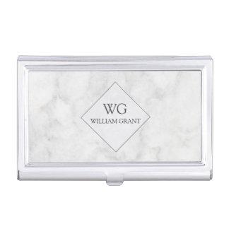 Trendy Modern Professional Monogrammed Marble Business Card Holder