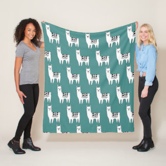 Trendy Modern Sketchy Llamas Pattern Fleece Blanket