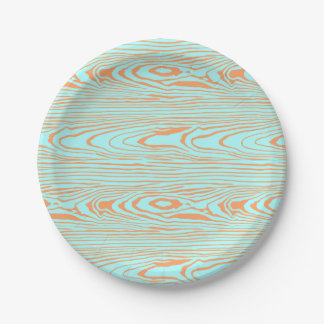 Trendy modern teal orange wood grain pattern paper plate