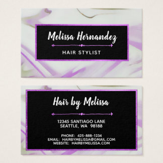 Trendy Modern Violet Purple Marble Hand Lettered Business Card