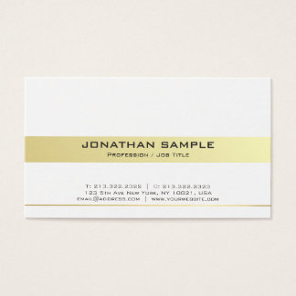 Trendy Modern White and Gold Professional Matte Business Card
