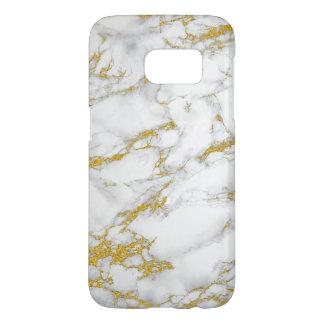 Trendy Modern White & Gold Marble Print