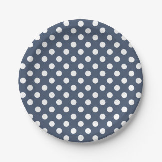 Trendy Modern White Polka Dots on Blue Jeans Blue 7 Inch Paper Plate