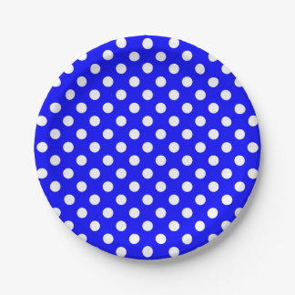 Trendy Modern White Polka Dots on Blue 7 Inch Paper Plate