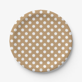 Trendy Modern White Polka Dots on Camel Brown 7 Inch Paper Plate