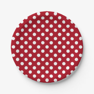 Trendy Modern White Polka Dots on Dark Red 7 Inch Paper Plate